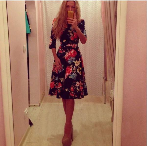 2015 New Model Women O Neck Cute Design Half Length Sleeve Line Floral Printed Black Color Dress - Shabaz All for store