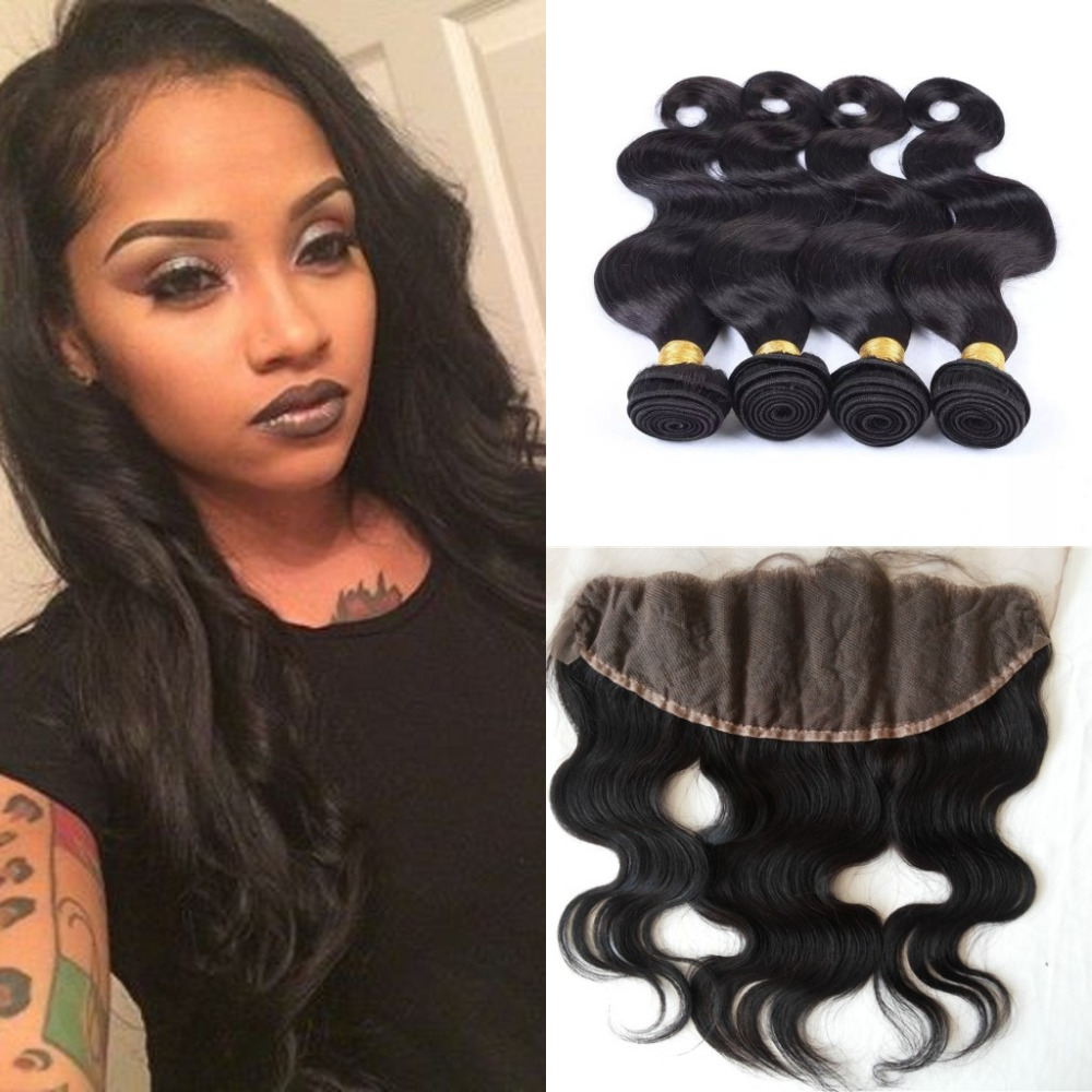 Ear To Ear 13X4 Lace Frontal closure With 4 Bundles Malaysian Virgin body wave Hair weft DHL free<br><br>Aliexpress