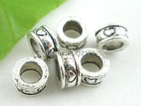 750Pcs Wholesale Spacers European Beads Round Heart Pattern Silver Tone Fit Charm Snake Chain Jewelry Component 8mm<br><br>Aliexpress