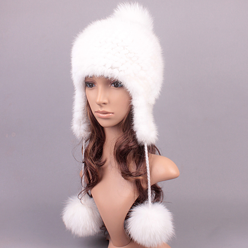 Women Fur Hats Luxury Real Mink Fur Autumn Winter Genuine Knitted Lady Warm Caps Female Beanies Russian Solid Hat(China (Mainland))