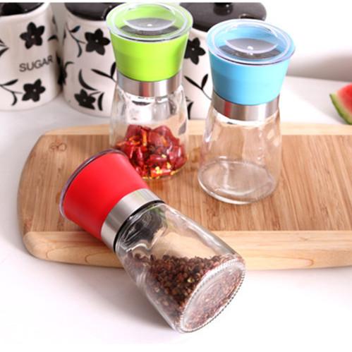 Salt and Pepper mill grinder Glass Pepper grinder Shaker Spice Salt Container Condiment Jar Holder New ceramic grinding bottles(China (Mainland))