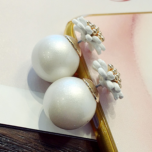 Ocean pearl jewelry natural pearl earrings freshwater daisy earrings women 925 sterling silver jewelry Stud Earring flower(China (Mainland))