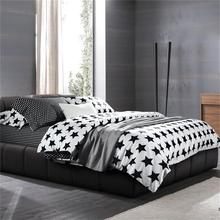 Black and White Five-pointed Star Bedding Sets Queen Size Pure Cotton Pillowcase Duvet Cover Bedsheet Bedroom and Hotel Set 4pcs(China (Mainland))