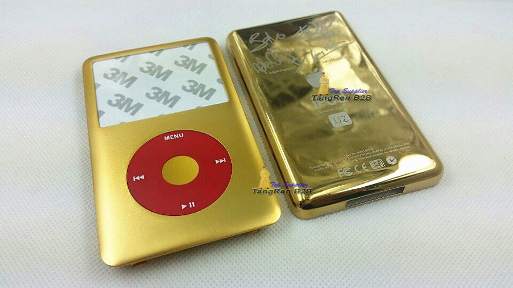 new golden gold faceplate U2 housing back case button red clickwheel new combination ipod 6th classic 80gb(China (Mainland))