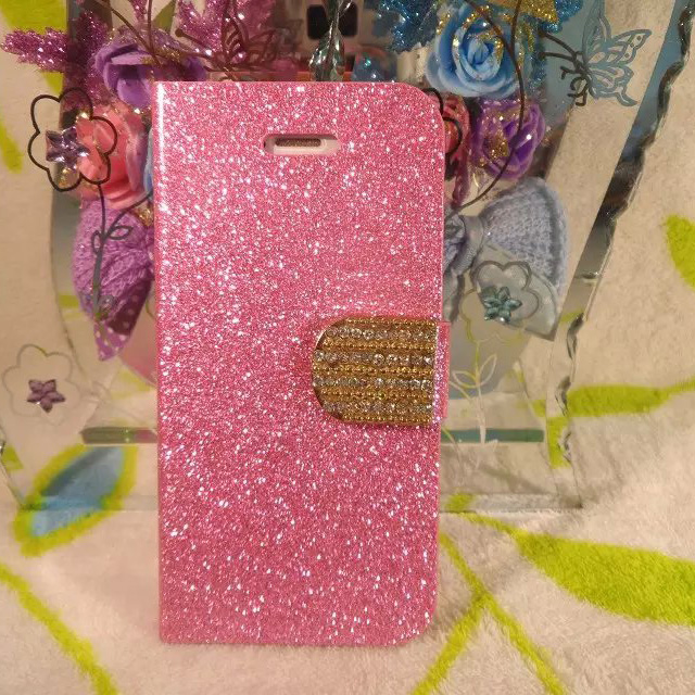 2016 Hot! Fashion Bling Diamond Card Slots Flash Powder Leather Case With Stand For iphone 5 5s holster protector cover B40F(China (Mainland))