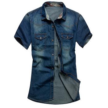 Мужские джинсы рубашка хлопок коротким рукавом джинсовые рубашки мужской однобортный лоскутное ковбой Camisas сорочка Homme