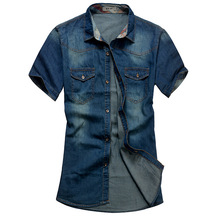 2015 Summer Washing Charm jeans shirts short sleeve men's shirt ,Denim Wear white men's jacket Cowboy wear free shippin