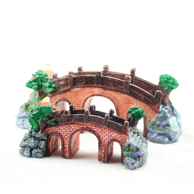 Pet product new resin rockery fish tank ornament aquarium for Aquarium bridge decoration