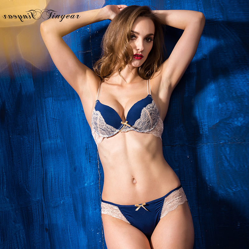 2016 New bra panti photo fitness comfortable ladies sexy panty and bra sets floral lace girls undergarments with bow 3 colors(China (Mainland))