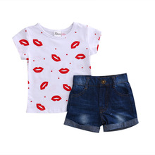 Buy 2017 Summer Toddler Kids Girls Clothes Short Sleeve Lip Printed Cotton T-shirt Top+Denim Short Jean 2PCS Outfit Children Clothes for $7.03 in AliExpress store