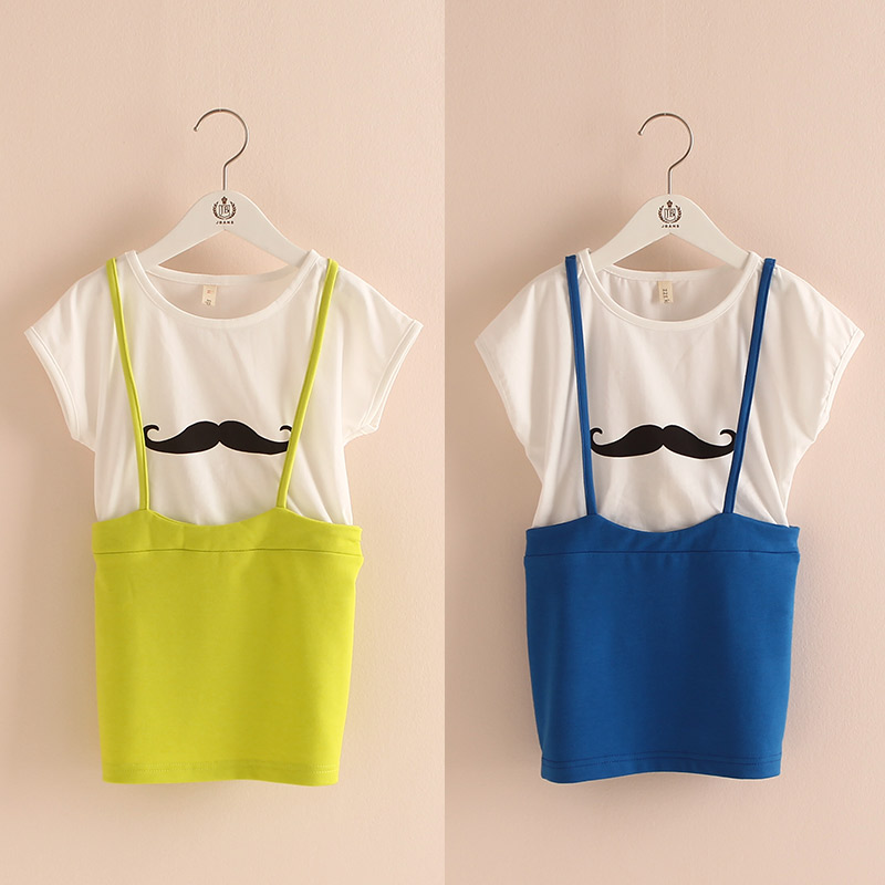 Cartoon Rushed Girl Dress Wholesale Summer 2015 Korean Kids Clothes New Moustache Girl Baby's Short Sleeved Dress Qz-0872 Strap(China (Mainland))
