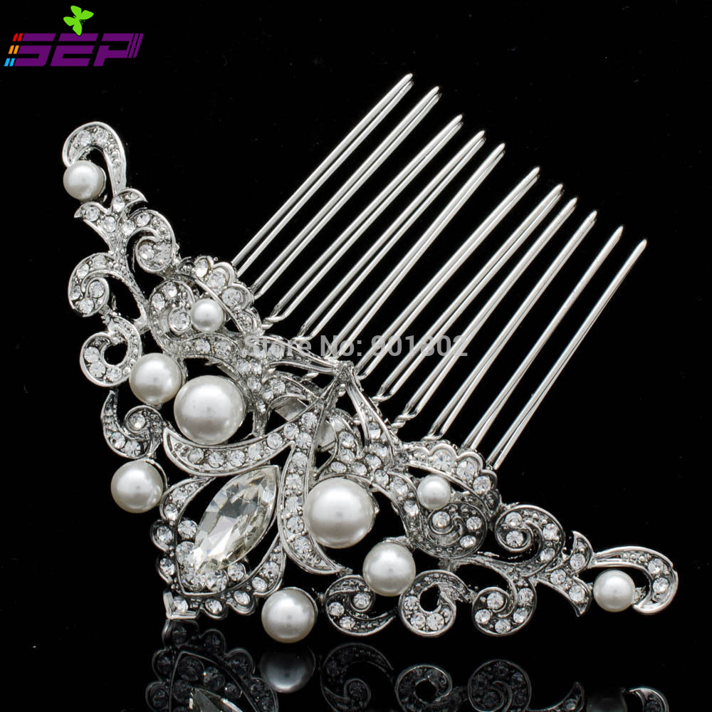 Flower Pearl Hair Pins Comb Inspired for Bridal Rhinestone Crystal Headpiece Wedding Hair Accessories Jewelry CO1457R1(China (Mainland))
