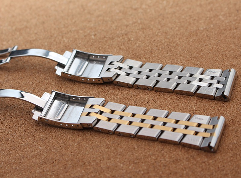 Mixed colors Silver with gold Watchbands for luxury brand watches accessories 22mm 24mm men watch straps bracelet flat end Hot