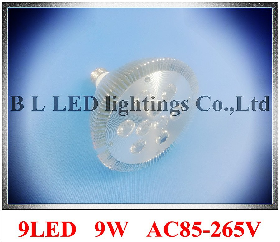 lathe profile aluminum LED spot light lamp spotlight LED bulb par light parlight E27 AC85-265V 9LED 9W 720lm 2 year warranty(China (Mainland))