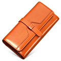Vintage Cowhide Purse Women Fashion Retro Large Capacity Long Billfold Ladies Designer Korean Magnetic Button Closure