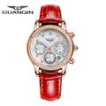 GUANQIN Fashion Luxury Brand Watch Women Dress Diamond Sapphire Waterproof Watch Leather Casual Women Watches Relogio