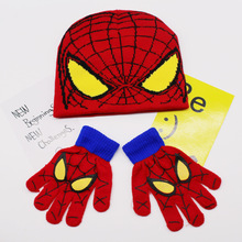 Hot ! Children's Cap + Scarf Hat Winter Cartoon Minions Glove Hats Sets Fashion Kids Baby Warm Knitted Caps Gloves Baby Beanies(China (Mainland))