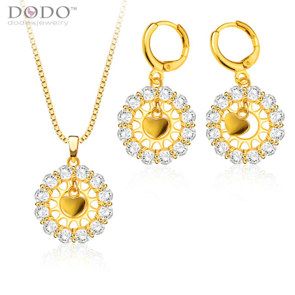 Austrialia crystal Pendants Necklaces Earrings Jewelry Set gifts 18K Gold Plated Fashion Cubic zirconia Jewelry Sets S20126(China (Mainland))