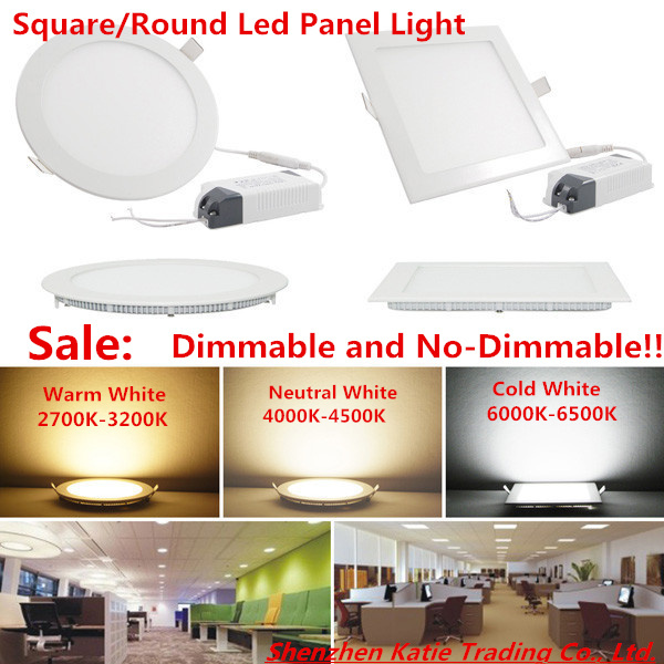 25 Watt Square/Round LED Ceiling Light Recessed Kitchen Bathroom Lamp 85-265V LED Down light Warm White/Cool White Free shipping(China (Mainland))