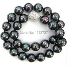 """the 10mm Black South Sea Shell 2014 charming Pearl Necklace Beads Jewelry Jasper 18 """"AAA Natural Stone BV324 Wholesale Price(China (Mainland))"""
