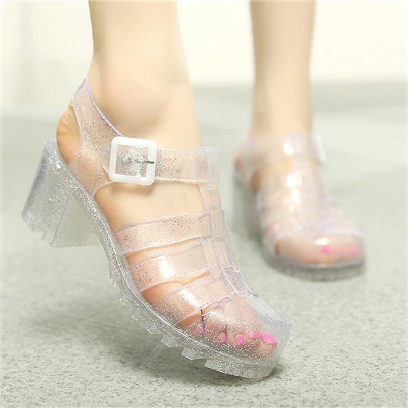 2016 Vintage Style Roman Gladiator Sandals T-Shaped Jelly Shoes Crystal Glass Glitter Beach Shoes sandalia feminina(China (Mainland))