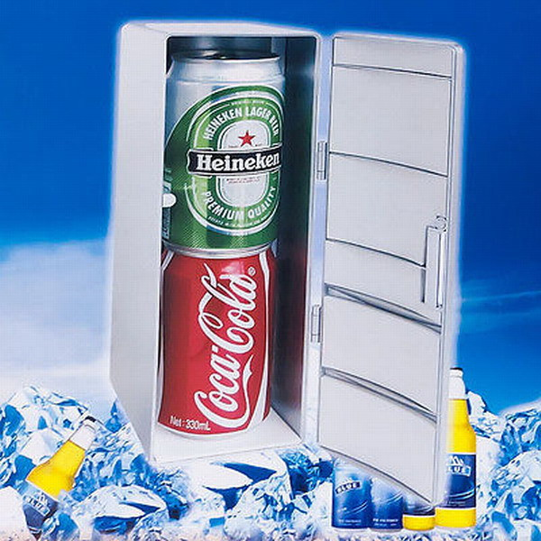 Free shipping Mini USB PC Fridge Freezer Refrigerator Beverage Drink Cans Warmer Cooler Silver(China (Mainland))