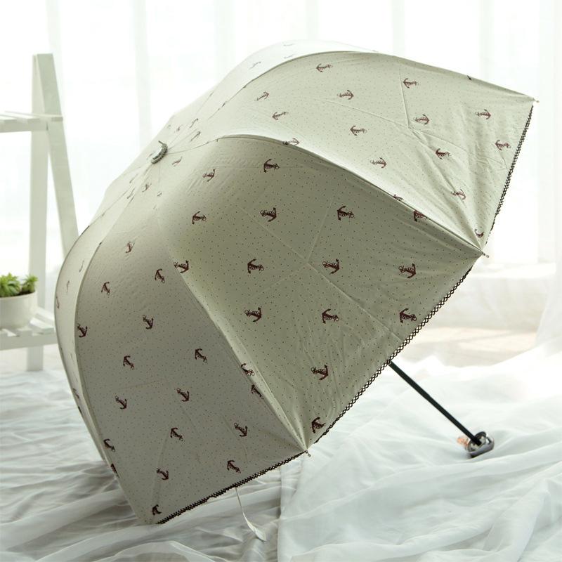 Princess Creative Lace Wave Dome Parasol Anchor Three Folding Sun Rain Umbrella Color Coating Ladies Umbrellas Free Shipping(China (Mainland))