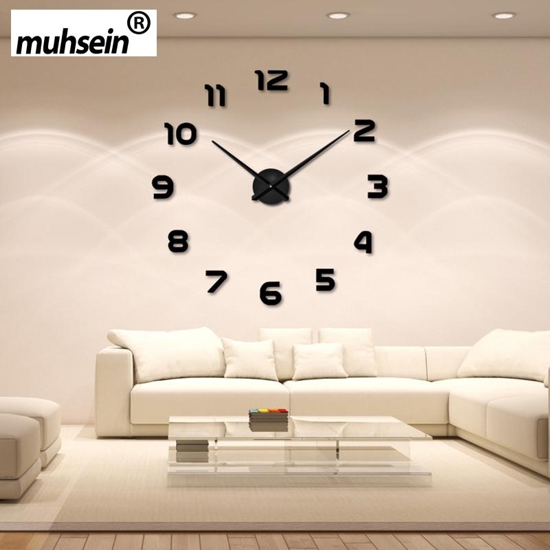 2016 new clock watch wall clocks horloge 3d diy acrylic mirror Stickers Home Decoration Living Room Quartz Needle free shipping(China (Mainland))