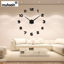 2016 New Arrival Wall Clock Watch muhsein 3D DIY Acrylic Mirror Wall Stickers Home Decor Living Room Quartz Needle Free Shipping(China (Mainland))