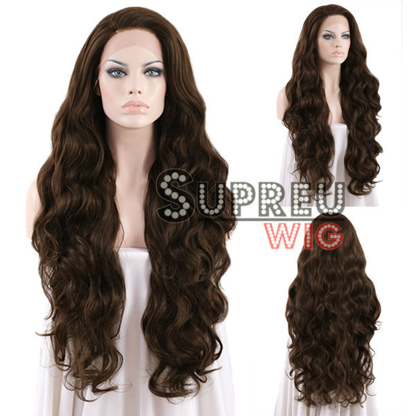 """18""""-28"""" Long Brazilian Body Wave 2 Tone Brown Synthetic Lace Front Synthetic Wig LW694(China (Mainland))"""