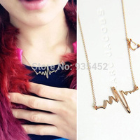 A3hot Women Chic heartbeat Electrocardiogram Gold Tone Chain Pendant Necklace free shipping new high quality  H6656 P
