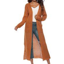 Laamei кардиган длинный свитер женский осенне-зимний открытый стежок Женское пальто пончо нерегулярный сплит карман плотный вязаный свитер(China)