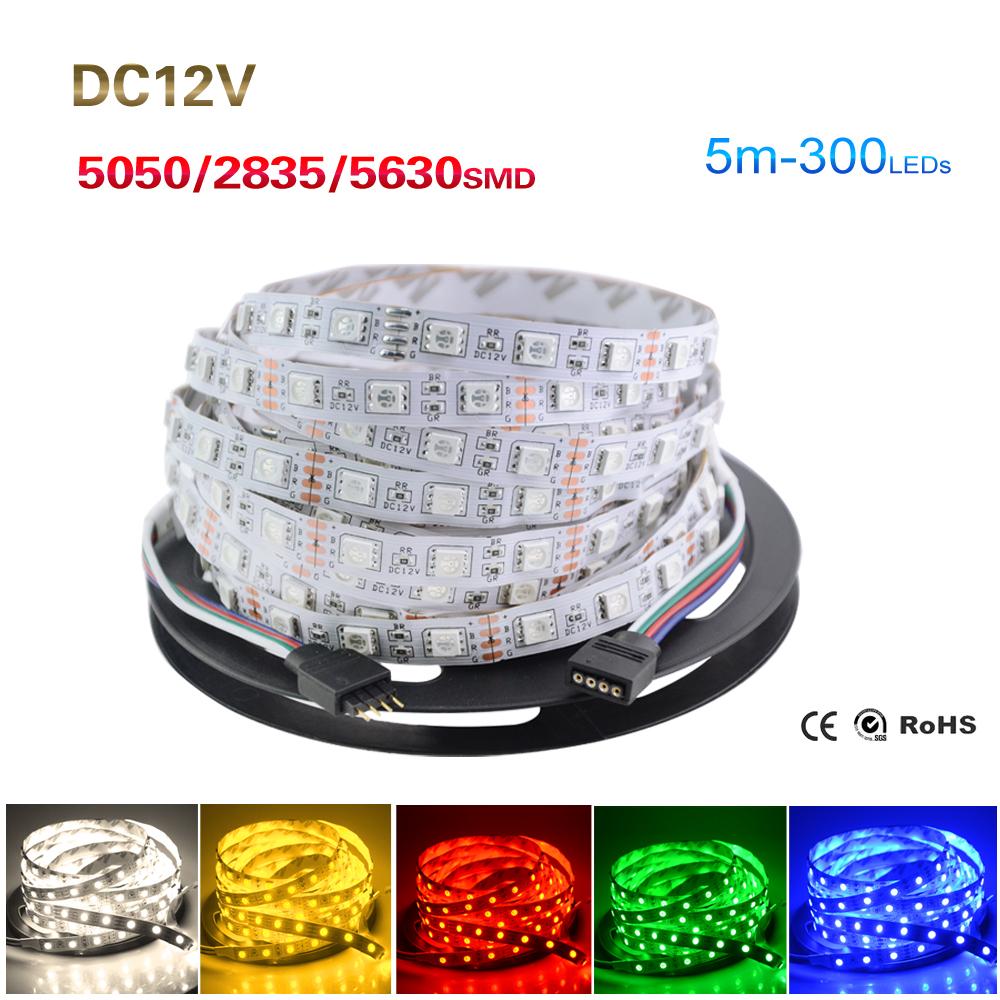 RGB Led Strip 5050 5630 2835 Not Waterproof 5M 60Led/M Led Strip Light DC 12V Fita Led String Stripe Bar Neon Bombillas Led Lamp(China (Mainland))