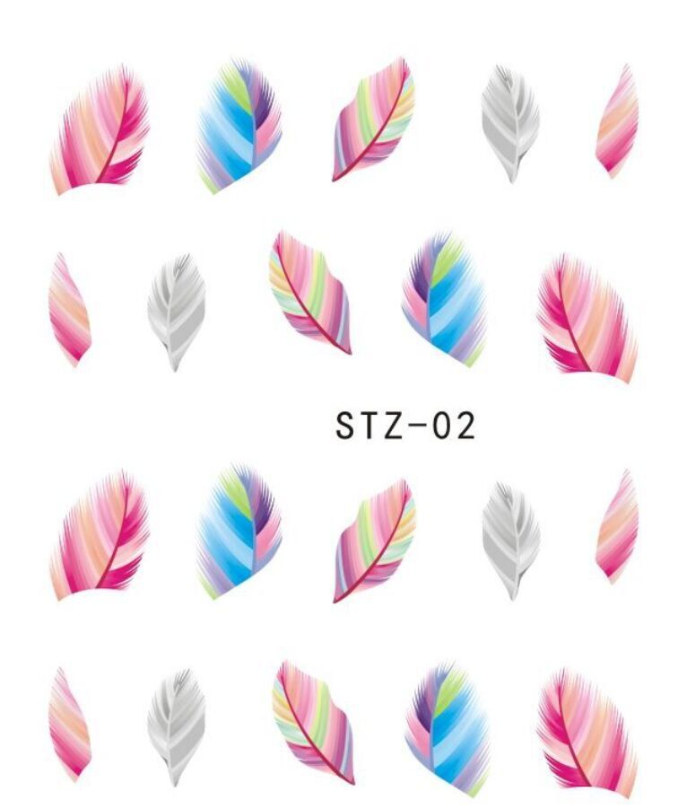 1pcs Fashion Sexy Designs Nail Art Colorful Feather of Nail Water Transfer Sticker Decorations Wraps Fancy Women Decals ST-02(China (Mainland))