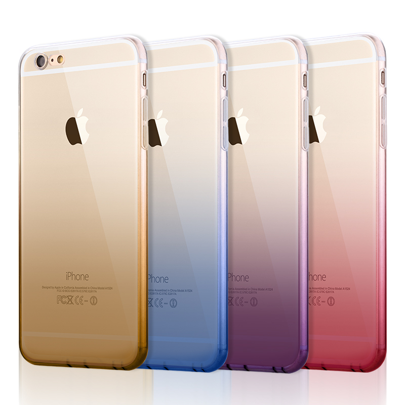 Phone Cases for iPhone 6 6s Plus Covers Transparent Gradient Color Design TPU Silicon Phone Covers Shell Capa with Dust plug(China (Mainland))