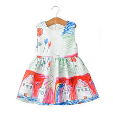 2016 Spring Girls Dresses Summer Sleeveless Print Cotton Baby Girl Dress Vintage House Pattern Princess Dress For Kids Girls C50(China (Mainland))