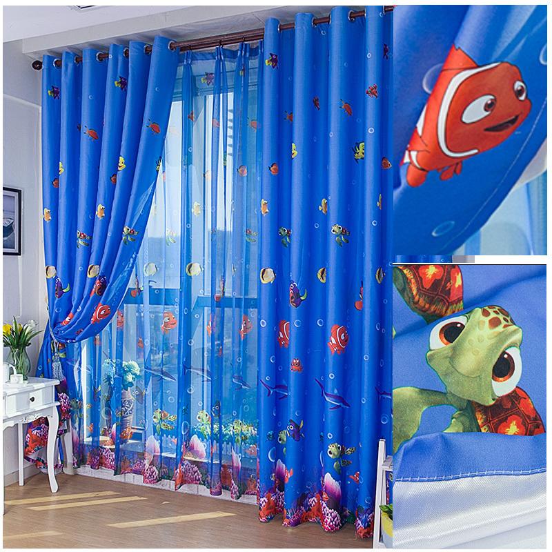 pescado de mar ocano ecolgico azul nio dormitorio cortina de la ventana de tulpura