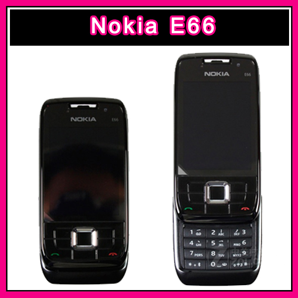 Original Unlocked nokia E66 Mobile Phones 3G WIFI GPS FM java Slide phone Russia keyboard Refurbished multilingual(China (Mainland))