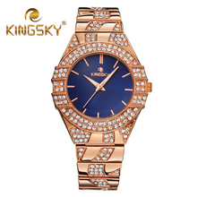 Kingsky Brand Fashion Casual Watches Party Diamond Women Wristwatches Rose Gold Quartz Clock Ladies Dress Time