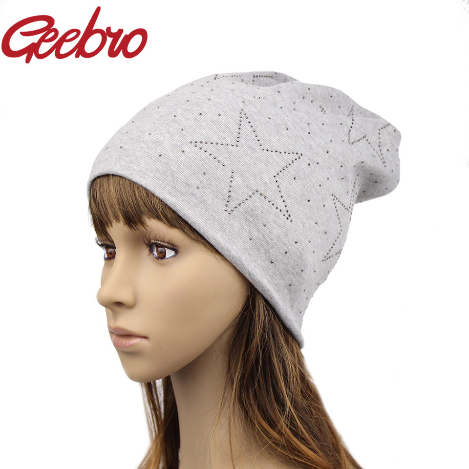 2016 Geebro Authentic Women's Winter Slouchy Star Beanies Women Autumn Warm Cotton Skullies Beanie Hat Red Gray Color JS262(China (Mainland))