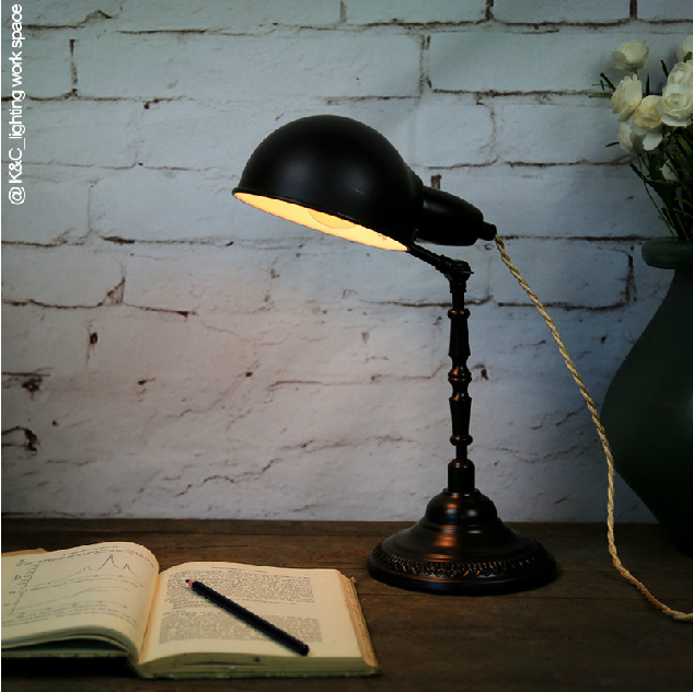 American mining industry creactive vintage style black table lamp to decorate bar or cafe(China (Mainland))