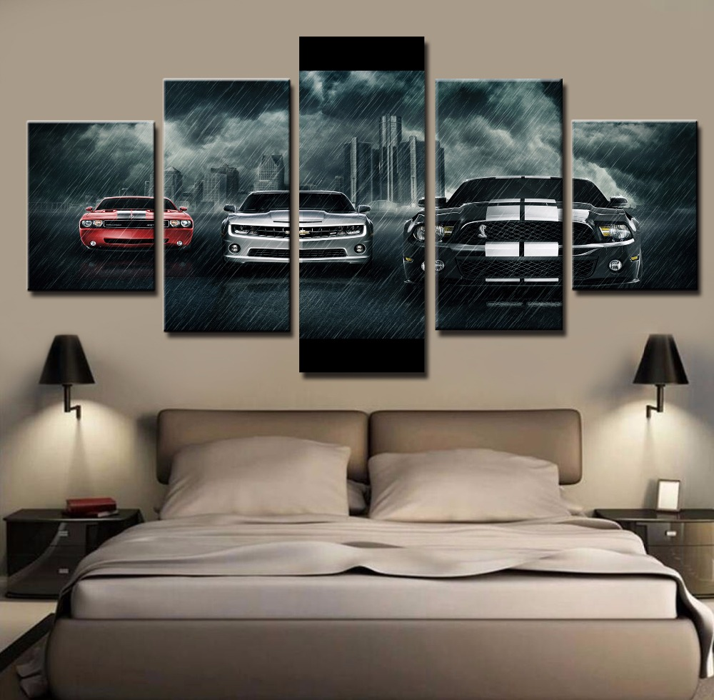 5 Piece Canvas Art Large Ford Mustang Shelby Car Cuadros Decoracion Paintings on Canvas Wall Art for Home Decorations Wall Decor(China (Mainland))