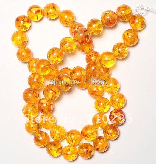 Wholesale 10 strings/lot Yellow Amber Beads 8 mm Amber Resin Gemstone Jewelry Bracelets DIY.Free shipping