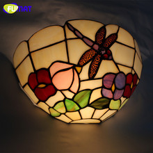 Tiffany Wall Light Brief Mediterranean Style Tiffany Restaurant Wall Lightings Stained Glass Dragonfly Wall Sconce Lamp(China (Mainland))
