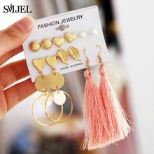 SMJEL Fashion geometryczna muszla stadnina zestaw kolczyków dla kobiet serce gwiazdkowe kolczyki długi kutas spadek kolczyk Handmade damska biżuteria(China)