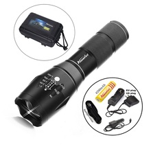CREE XML T6 LED 2000Lm cree led Torches Zoomable Tactical LED Flashlight Lamp +18650 Battery car charge holster E17 G700 X800(China (Mainland))