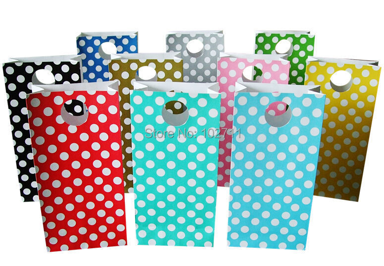 Polka Dot Paper gift bags, Stand Up Paper Bags, Party,Favour, Wedding, Packaging 24pcs/lot 10x20x5cm(China (Mainland))