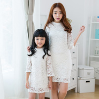 Family looke 2014 new autumn spring sets clothes for girl dresses family clothing for mother and daughter lace princess dresses