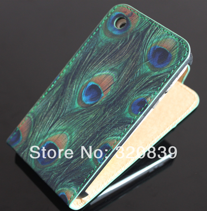 Cool Peacock Feathers Leather Design Flip Pouch Bag Skin Cover Case For Apple iPhone 3G 3GS(China (Mainland))