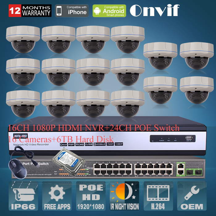 1080P 2MP HD H.264 25fps 30 IR Outdoor Vandal-proof Dome Network POE IP Camera Onvif 16H CCTV NVR System 24CH POE Switch 6TB HDD(China (Mainland))